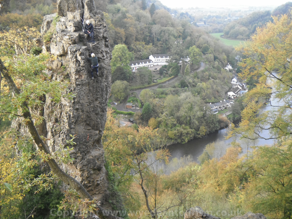climbing the Long Stone Symonds Yat